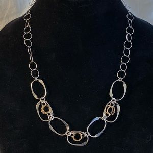 Vintage Sterling and Gold Loop Necklace - 18""